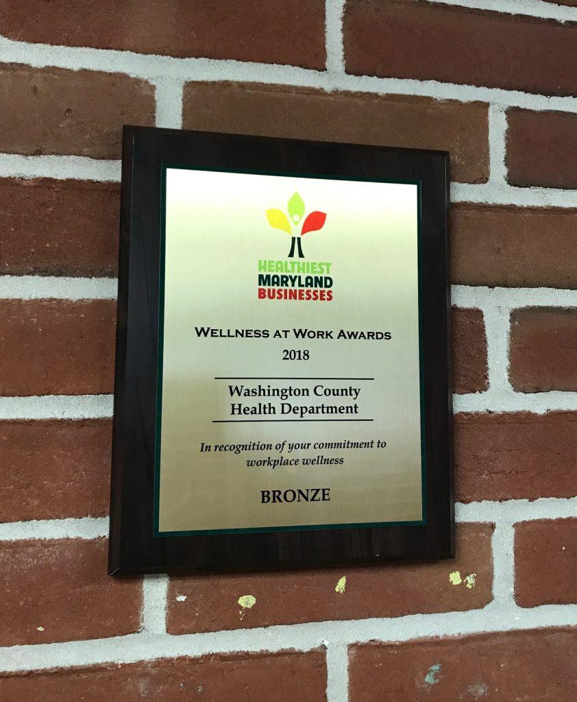 WCHD 2018 Wellness at Work Award plaque