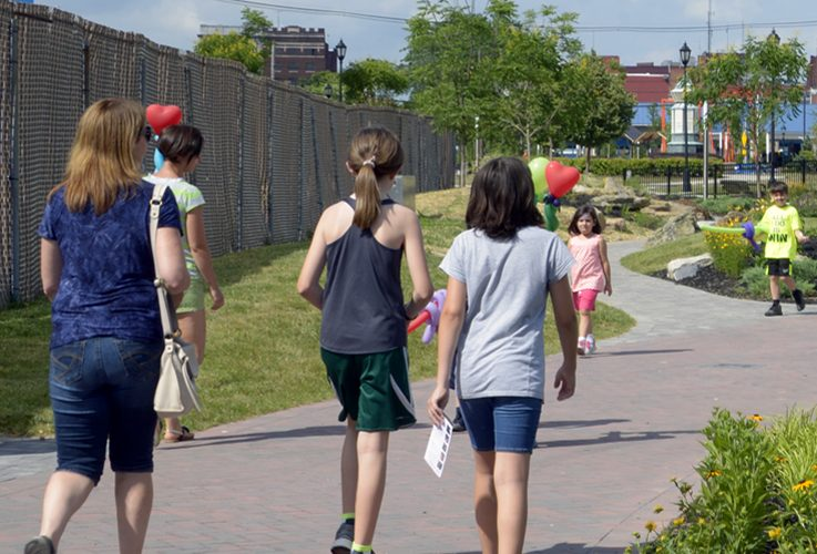people walking on the Hagerstown Cultural Trail
