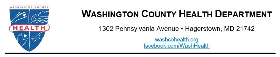 Washington County Health Department, 1302 Pennsylvania Ave, Hagerstown, MD 21742. website washcohealth.org, facebook: facebook.com/WashHealth
